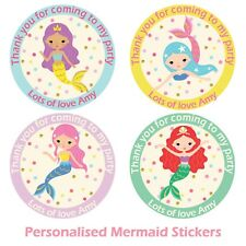 24 x Personalised Mermaid Birthday Stickers For Party Thank You Sweet Cone Bags