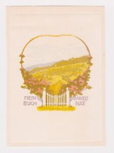 ALFRED PETER: EX LIBRIS for ANNELI NAY, SWISS C.1909 COLOUR WOODCUT