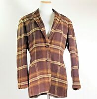 RALPH LAUREN Brown Plaid Equestrian Button Lambs Wool Blazer Riding Jacket / 12