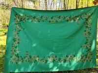 Vintage Green Christmas Tablecloth Pine Cone Poinsettias Bell Metallic Gold
