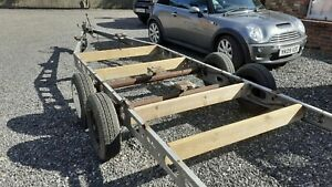 TRAILER CHASSIS ALKO TWIN AXLE 7 METERS LONG 4 New tyres. BOAT, SHEPHARDS HUT