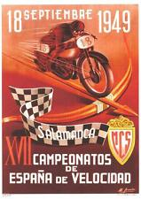 """1949 Spanish Grand Prix Valencia motorcycle race 9"""" X 12"""" repro event poster"""