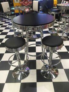 BLACK BAR SET - 2 STOOLS WITH BAR TABLE