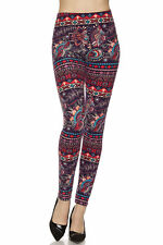 ONE SIZE Buttery Soft Always Brushed Paisley Feather Leggings TC/2