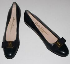 "Ferragamo 8 AAAA Navy Leather Vara Flat Slipper Gold Logo Bow 1.25"" Heel $575"