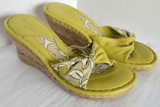 Born Drilles Slides Womens 8/39 Green Leather High Wedge Heel Espadrille Sandals