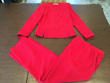 Vintage DAVID HAYES Women's Red 100% Silk PANT SUIT Size 4 SMALL Pants: 26X29