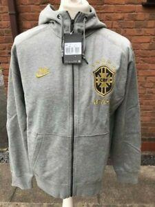Mens Nike Brazil Football Full Zip Embroidered Hoodie Grey Large L RRP £69.99