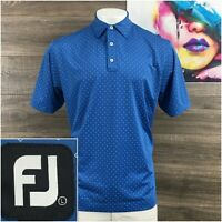 FootJoy FJ Golf Shirt Mens Size L Performance Polo Blue Stretch Short Sleeve