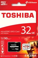 32GB Toshiba Exceria MicroSDHC UHS-I U3 90MB/s 4K FULL HD Memory Card + Adapter