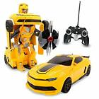 Kids RC Toy Sports Car Transforming Robot Remote Control with One Button