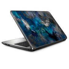 """Universal Laptop Skins wrap for 15"""" - Blue Grey Painted Clouds watercolor"""