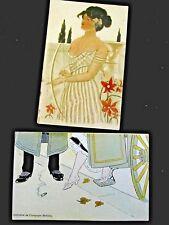 Collection du Champagne Mercier  2 cartes postales Femme à l'arc Art-nouveau