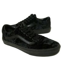 VANS Old Skool Black Velvet Skate Shoe Sneaker Size Mens 8 / Womens 9.5