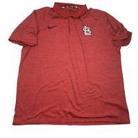 Nike Men's XXL 2XL Red St. Louis Cardinals BSBL Golf Polo Shirt MLB 34186X EUC