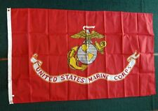 New listing Us Marine Corps Flag - 3' x 5' ft - rust red with gold, gray, black, white -New