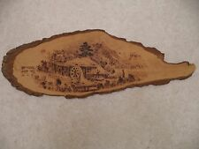 Vintage Primitive Wood Burning Folk Art Asian Scene Plaque Artwork - Mill - 1982