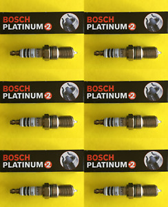 New SET OF 6 BOSCH Platinum+2 Spark Plugs - 4304 Made in Germany