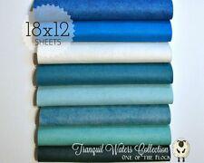 "TRANQUIL WATERS Felt Collection, Merino Wool Blend Felt, EIGHT 12"" X 18"" Sheets"