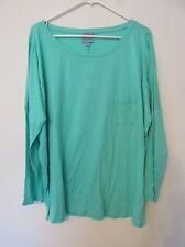 New Women's C&C California Knit Shirt Aqua Blue/Green Slit Sleeves Plus Size 2X