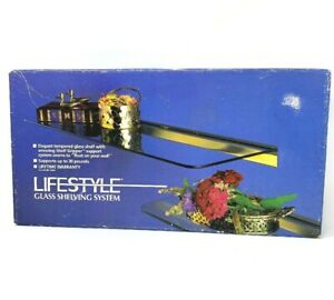 """NIB Vintage Lifestyle Glass Shelving SystemBrass Look Tempered Glass 8"""" x 18"""""""