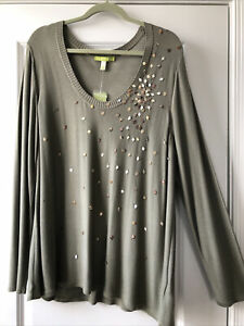 SIGRID OLSEN NWT Top Sweater Tunic 2X Beads Scoop Neck Long Sleeves
