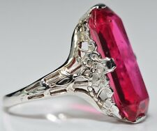 Antique Art Deco 18k White Gold Floral Filigree Ruby Red Crystal Elongated Ring