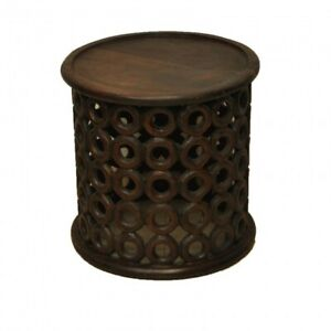 Bristol Carved Rings Round Coffee Table INDIAN HANDMADE FURNITURE