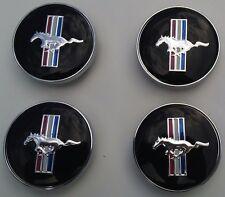 """Set of 4 Ford Mustang SVT Cobra GT 60mm Black Pony Center Caps 2 3/8"""" Hub Caps"""