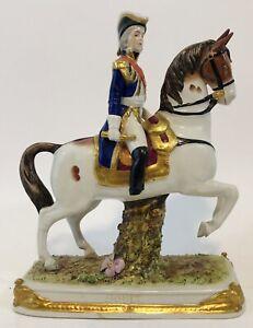 SOULT ON STANDING HORSE SCHEIBE-ALSBACH NAPOLEON MARSHAL PORCELAIN - BROKEN FOOT