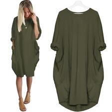 UK Plus Size Womens Casual Shirt Mini Dress Ladies Long Sleeve Loose Tops 8 - 26