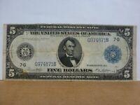 $5 FRN 1914 Federal Reserve Note Fr.871a White/Mellon # G974871B