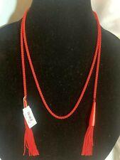 Kendra Scott Phara Red Lariat Necklace Matte Chain Tassel Long Wrap Layer