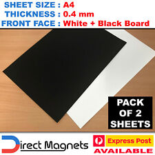 1 X A4 Whiteboard + 1 X Blackboard - White Black Chalk Board Magnet Sheets .4mm