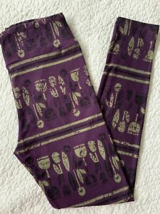 Lularoe Leggings OS Purple Green Black Aztec Tribal Flowers Stripes VINTAGE