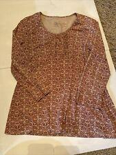 Aventura Clothing Organic Cotton Blend Casual Pink Tan Top, Women's Size M EUC
