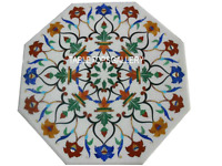 "15"" White Marble Coffee Top Table Carnelian Floral Inlay Marquetry Decors H3023"