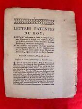 1733 lettres ,patentes du roy , portant confirmation medecin des EAUX MINERALES