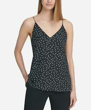 DKNY 2423 Size Large L Womens NEW Black Polka Dot Tank Top Pull Over $59