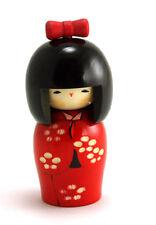 "Japanese Creative KOKESHI Wooden Doll 5.75"" Red Yuki Floral Kimono Made in Japan"