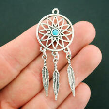 2 Dreamcatcher Charms Antique Silver Tone and Faux Turquoise Feather - SC5830