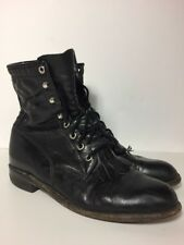 Ladies Justin Black Leather Lady Boots Block Heel Goth Western Tassle 7 M