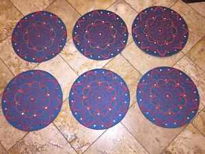 """NWT KIM SEYBERT Blue Red Moroccan Mirror Red BEADED 15"""" PLACEMATS Chargers Set 6"""