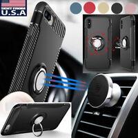 For iPhone X/8/7/6 Plus Ring Finger Loop Grip Magnetic Car Mount Shockproof Case