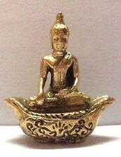 Statuette figurine laiton amulette Bouddhisme BOUDDHA SOCLE Cambodge b83