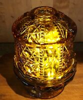 """Vintage large Fenton amber glass fairy lamp 7"""" X 5"""" autumn glow by adding lights"""