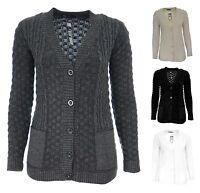 Ladies Boyfriend Grandad Button Cardi Womens Cable Knitted Long Cardigan  New