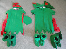 Handmade Christmas Elf Costumes-Man & Woman-Green w/Red-size M