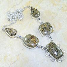 "Handmade Arizona Petrified Wood 925 Sterling Silver Necklace 19.5"" #X53821"