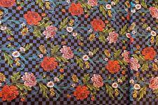 Stoff Meterware Patchwork Free Spirit Broidery Boheme Blau kariert Blumen 25 cm
